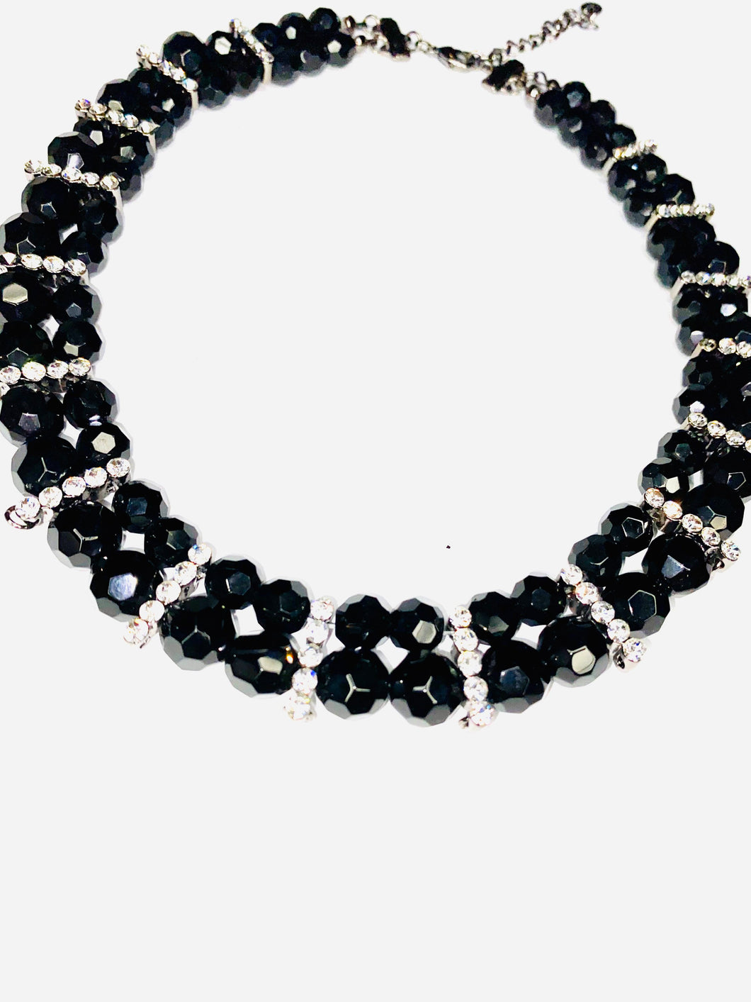 Black and Silver beaded necklace- Simple Necklace- Gift for her