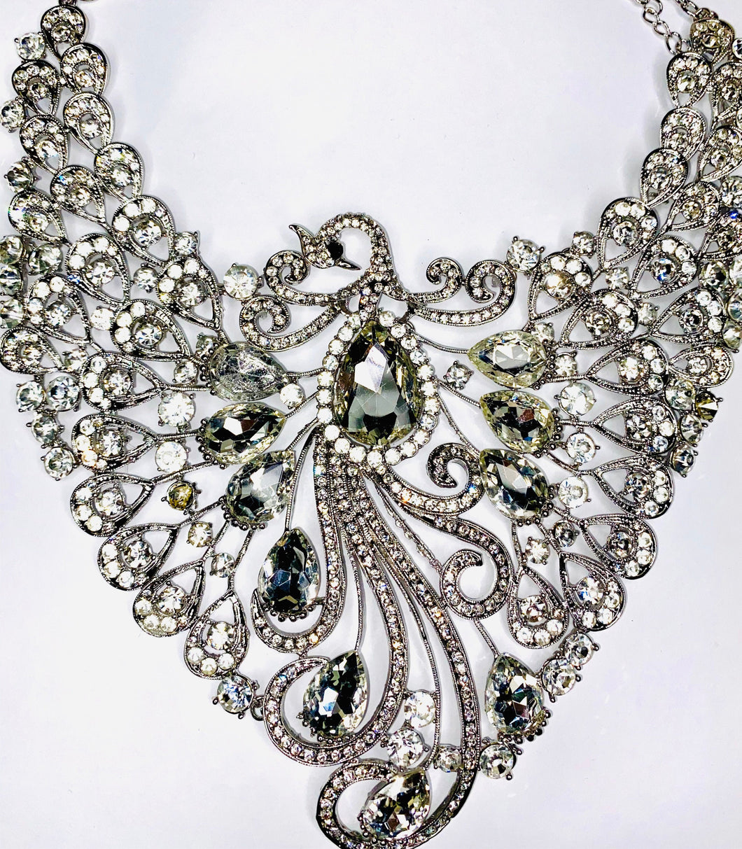 White Crystal Necklace -  Rhinestone Statement Necklace - Diamonds Jewellery , For Women