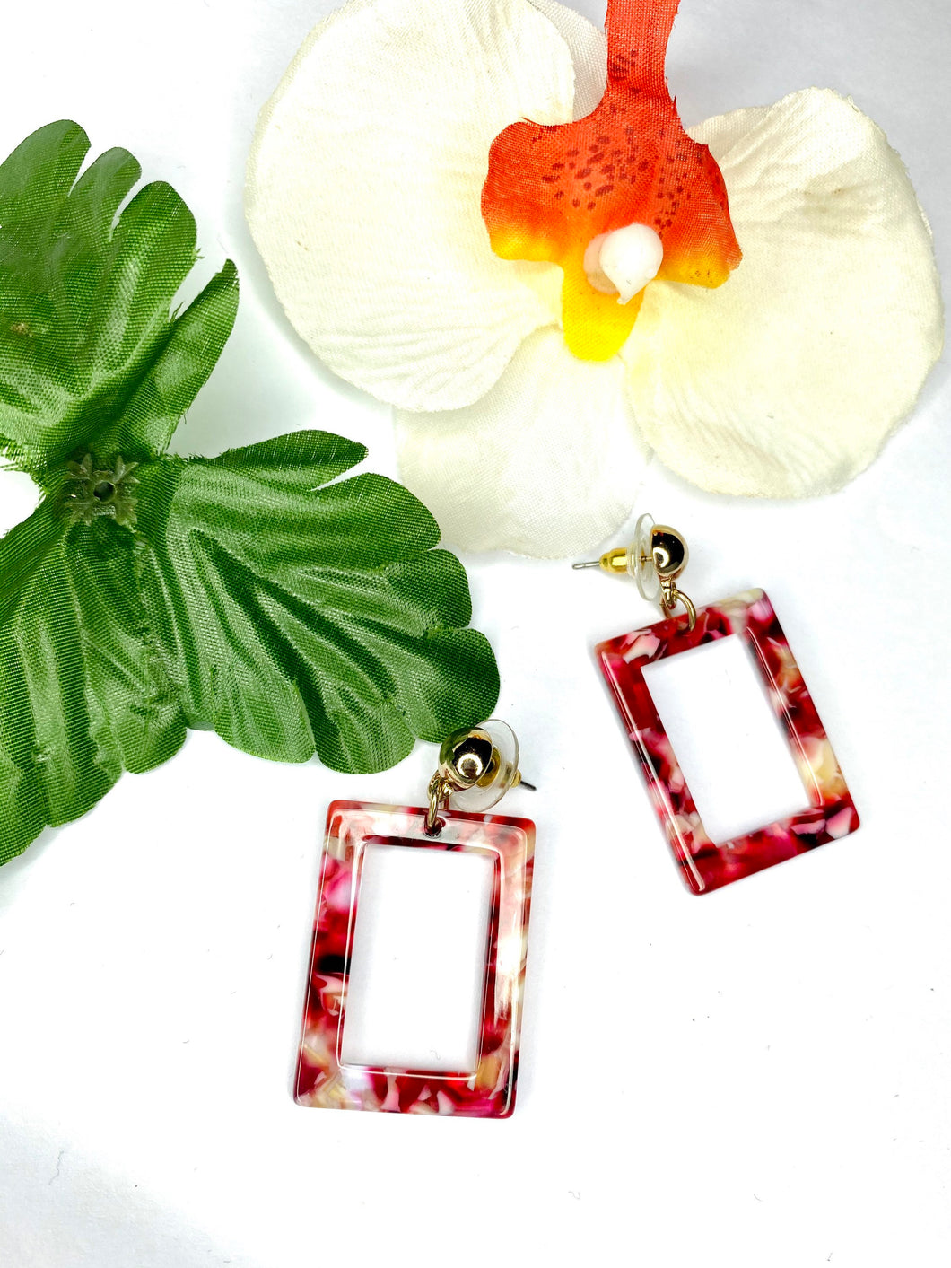 Dangle Earrings. - Square Shape - Statement Earrings - Brown Red Drop Down Earrings