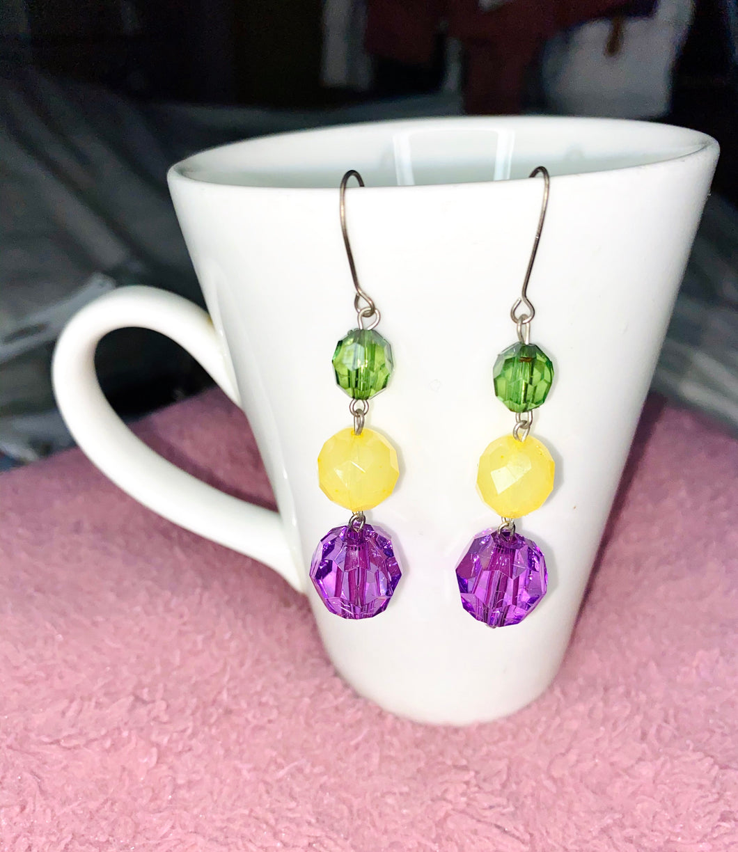 Recycled handmade Earrings- Dangle Earrings - Beads Earrings - Colourful - Green/Yellow/Purple Earrings- Classy Earrings