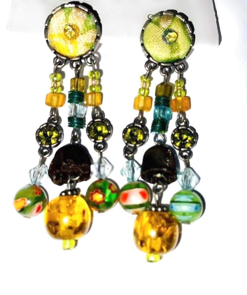 VINTAGE EARRINGS COLOURFUL Embroidery beads statement earrings