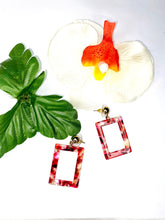 Load image into Gallery viewer, Dangle Earrings. - Square Shape - Statement Earrings - Brown Red Drop Down Earrings