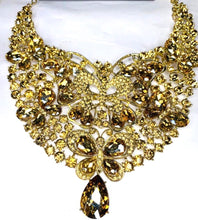 Load image into Gallery viewer, Gold Crystal Necklace -  Gold Rhinestone Statement Necklace - Diamonds Jewellery , Jewellery  for women