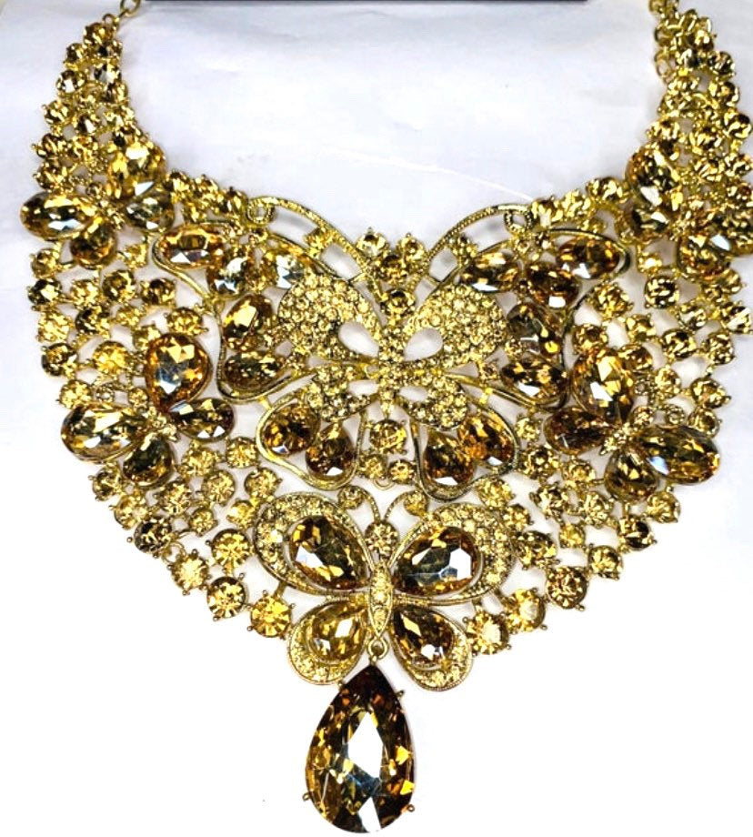 Gold Crystal Necklace -  Gold Rhinestone Statement Necklace - Diamonds Jewellery , Jewellery  for women