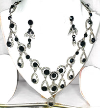 Load image into Gallery viewer, Black Crystal Necklace -  Rhinestone Statement Necklace - Diamonds Jewellery , Jewellery set for her - Earring, Necklace and Bracelet.