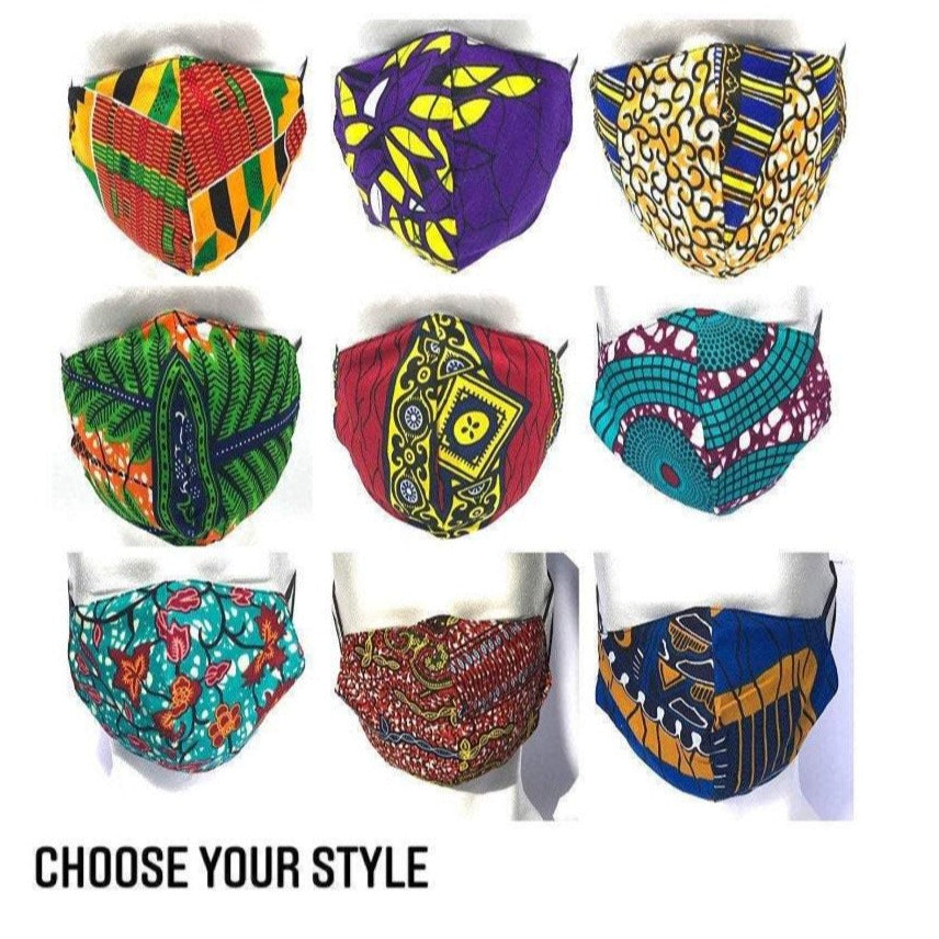 African Print Face Mask UK with Filter Pocket, Ankara Face masks with Pocket, Accessories -  Washable & Reusable| UK SELLER