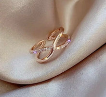 Load image into Gallery viewer, Criss Cross Rings - Crystal Rose Gold Ring - Adjustable ring- Git for her