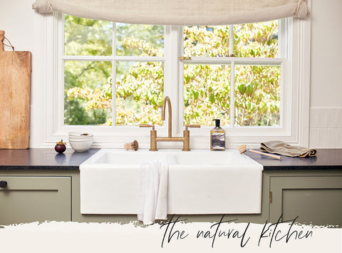 Bright Clean Kitchen in Shaker Style with Bay Window and Saardé Dishwash Liquid with Vintage Wash Olive Tea Towel