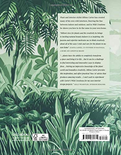 Wild Creations Book Cover with Graphic Designs of Lush Tropical Plants in various shades of green and recommendations