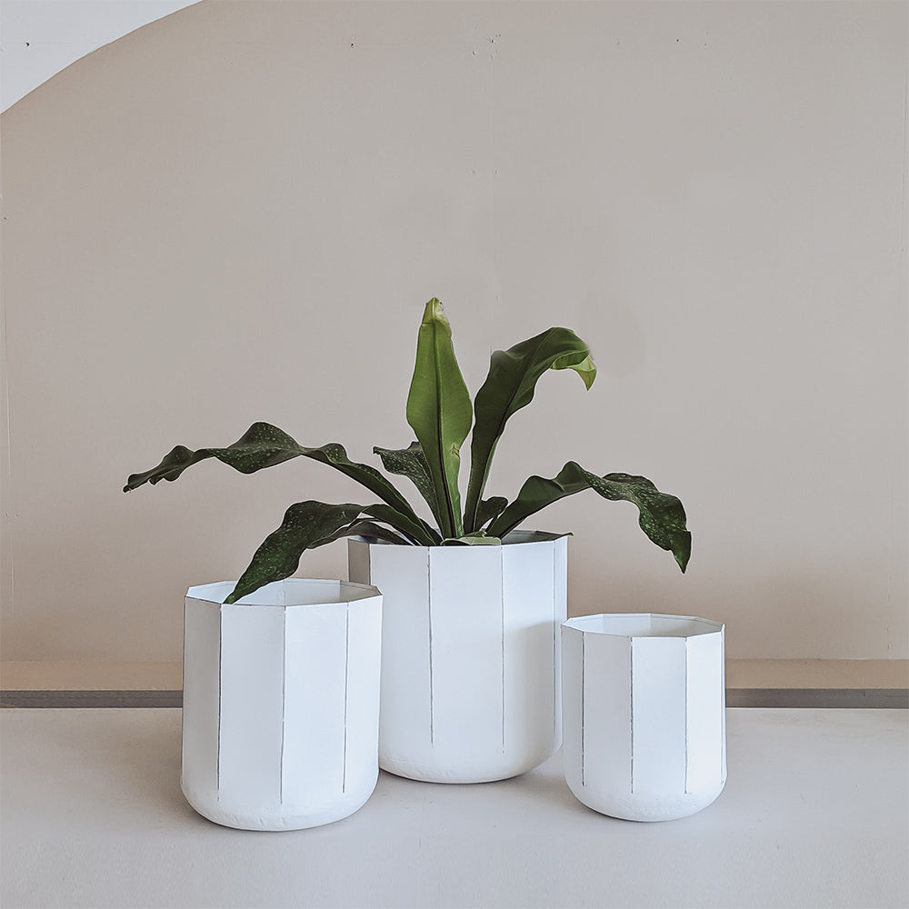 Faceted Indoor Planters  White