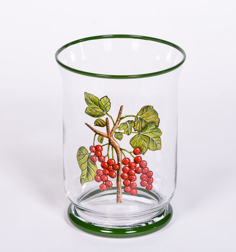 Hand Painted Redcurrant Hurricane Lamp