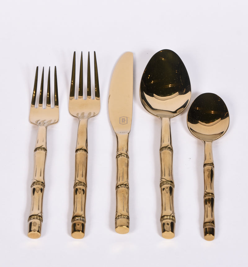 Gold Bamboo Cutlery - 5 Piece Set