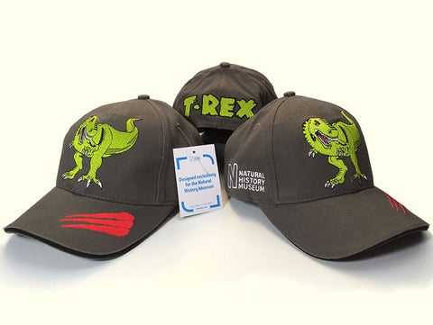Case Study - natural history museum T-rex baseball caps Kingfisher Giftwear
