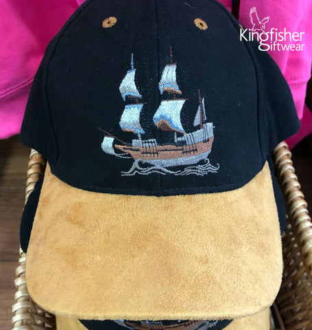 Embroidered-Mayflower-cap-created-by-Kingfisher-Giftwear