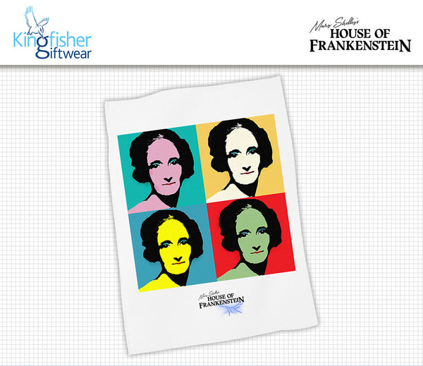 Warhol inspired Tea Towel design for Mary Shelley's House of Frankenstein