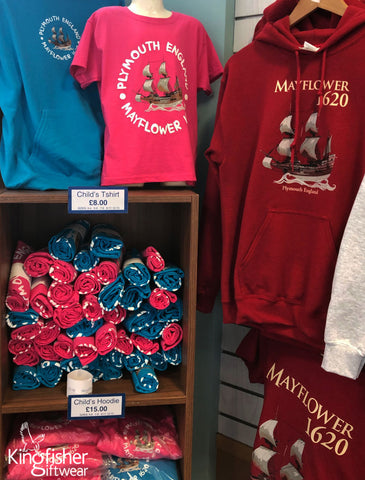 Mayflower-plymouth-T-shirts-on-display-created-by-Kingfisher-Giftwear