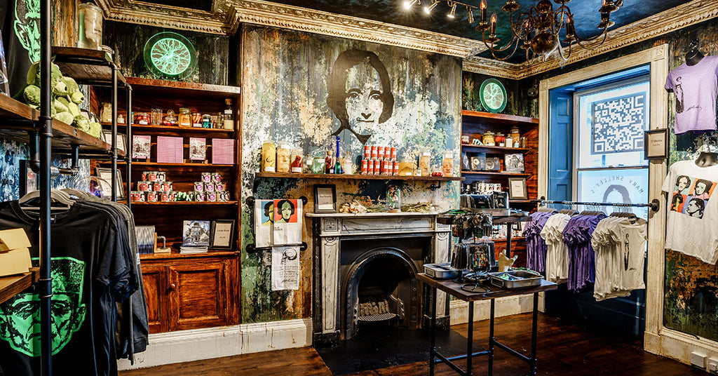 The well-stocked gift shop at Mary Shelley's House of Frankenstein