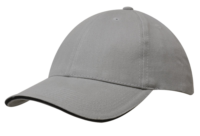 Brushed heavy cotton cap with sandwich trim