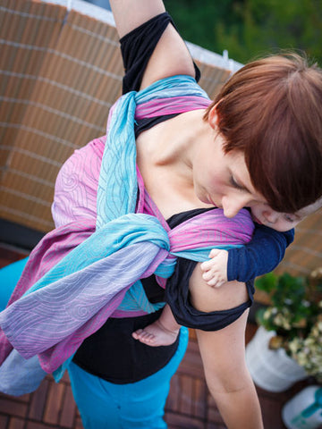 baby carrying yoga with a sling Oscha Slings