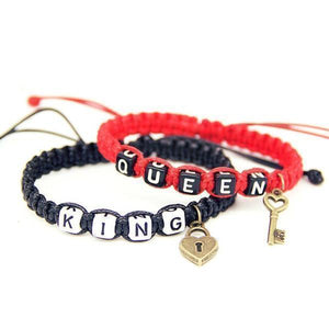 COUPLE LOCK CHARM ROPE BRACELETS JEWELRY