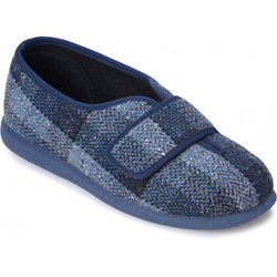 Cosyfeet Ronnie-Touch-Fastening-Slippers-navy-plaid