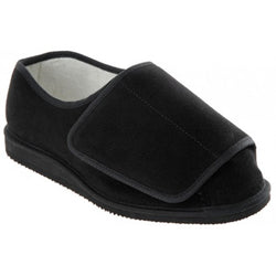 Cosyfeet Rowan-Extra-Extra-Roomy-Touch-Fastening-Slippers-black