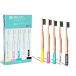 BAM-BOO ® | 5 PACK | Suave y Media Dureza Disponible | Cepillo de Dientes Premium Biodegradable y Ecológico |