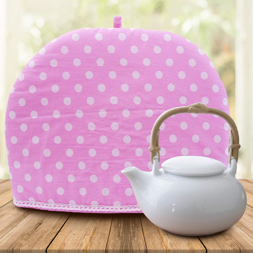 Old Harbor Pink and White Polka dots Tea Cozy (27 x 35 cm)