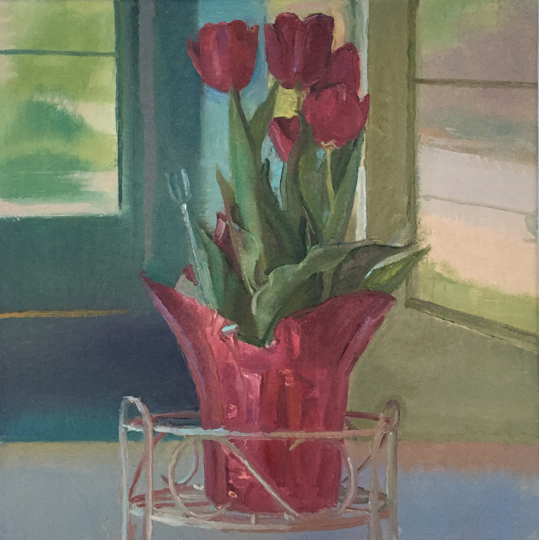 Red Tulips On The Porch