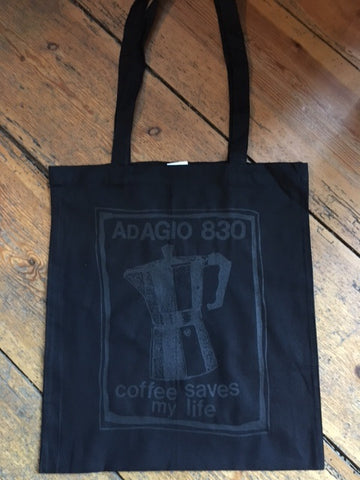 ADAGIO830 - coffee saves my life TOTE BAG (BLACK)