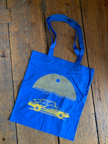 BIS AUFS MESSER - Saab Tote Bag (Blue)