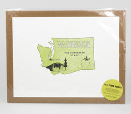 WASHINGTON - The Evergreen State LETTERPRESS PRINT