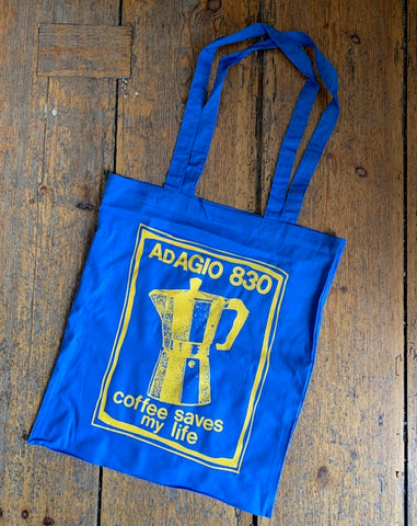 ADAGIO830 - coffee saves my life Tote Bag (Blue)