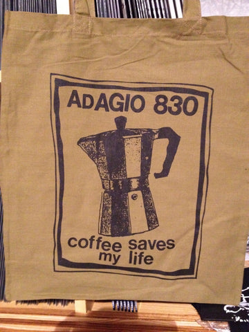 ADAGIO830 - coffee saves my life TOTE BAG (BROWN)