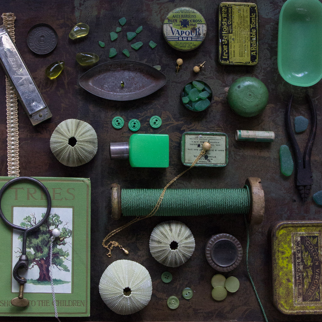 Collection of green vintage items with Catherine Hills Jewellery