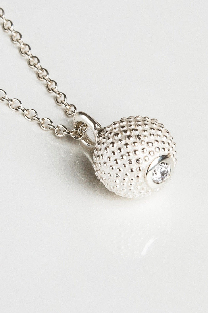 April Diamond Birthstone Ball and Chain Pendant Necklace