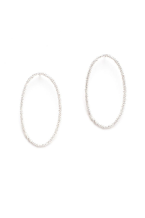Oval Bobbled Hoop Drop Earrings