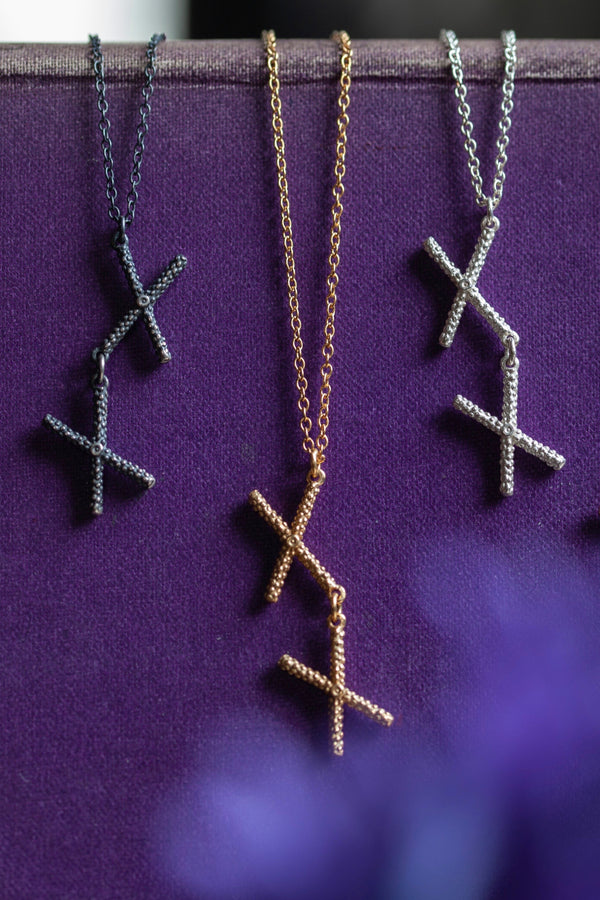 Trio of my Kiss Cross Pendants formed from a pair of linked crosses or kisses can be worn at two lengths