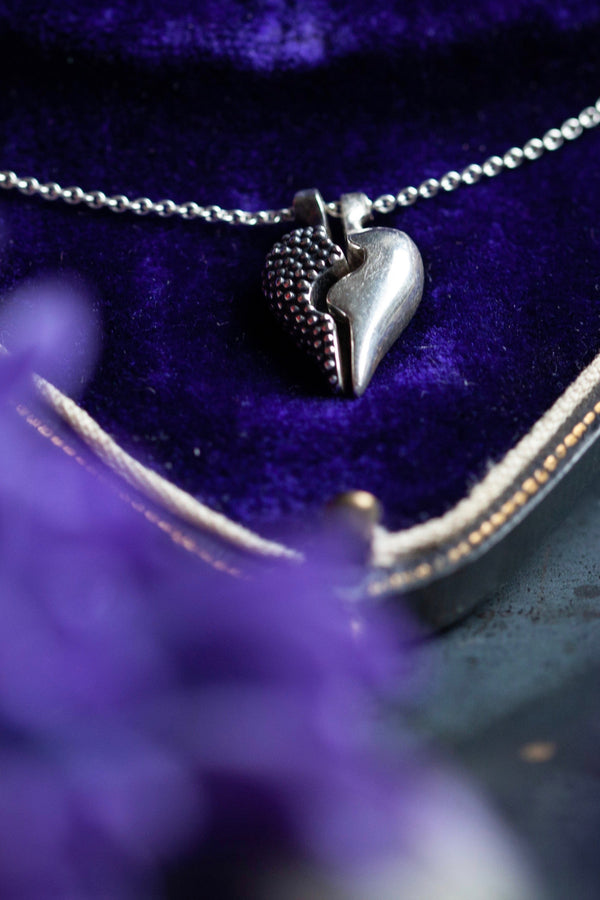 Tiny Two Part Heart Pendant Necklace