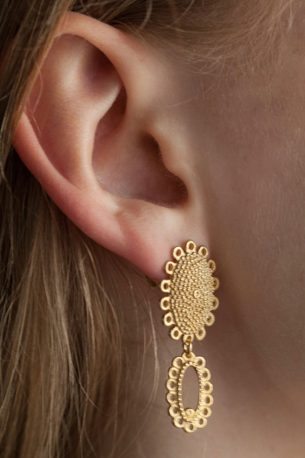 Large Baroque 2 Part Drop Earrings
