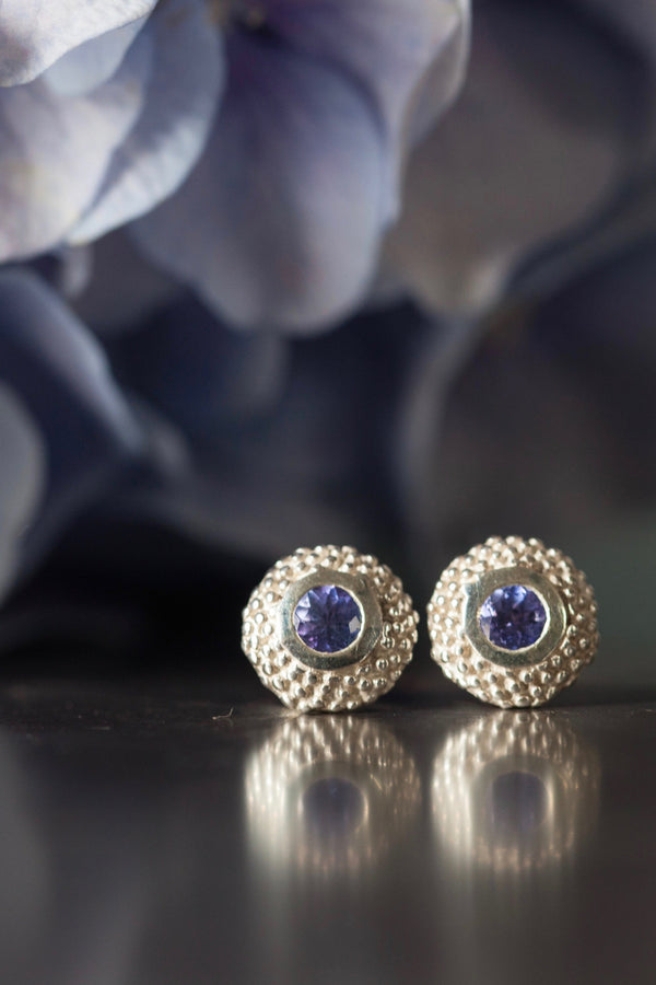 December Tanzanite Bobbled Pollen Stud Earrings