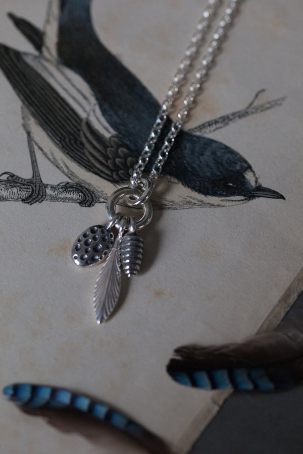 Three Pod Feather Cluster Necklace (Long)