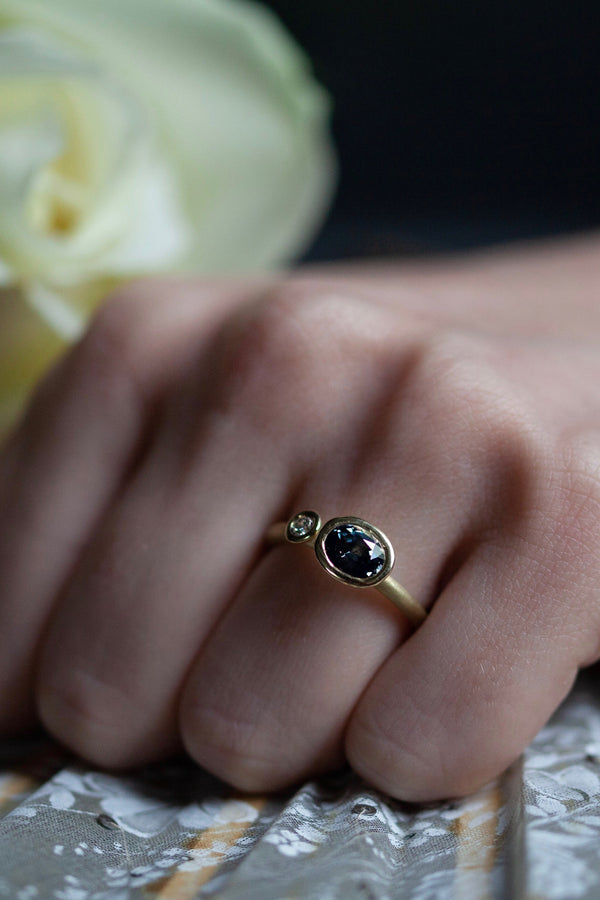 Blue Spinel Couplet Ring