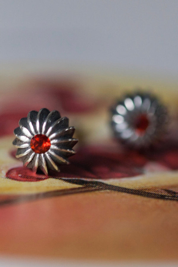 January Red Garnet Birthstone Satsuma Studs