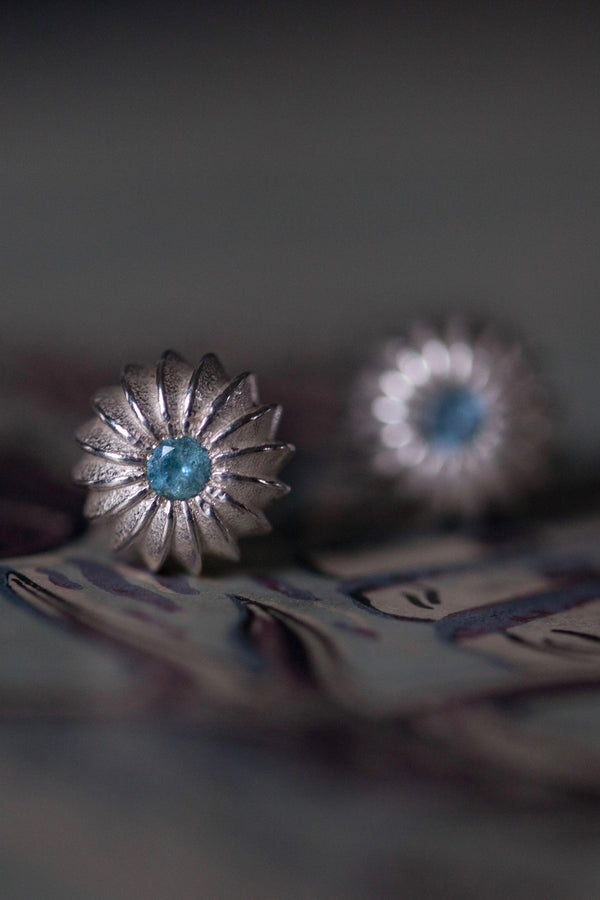 March Aquamarine Birthstone Satsuma Studs