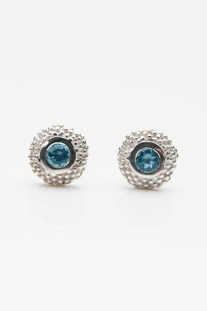 March Aquamarine Bobbled Pollen Stud Earrings