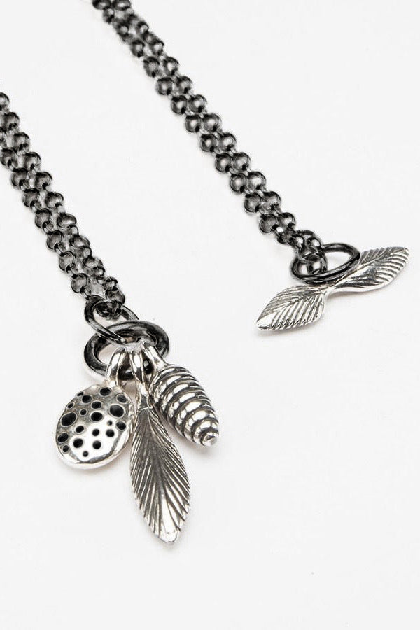 Three Pod Feather Cluster Pendant Necklace