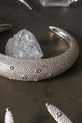 Axolotl Cuff Bangle with Diamonds