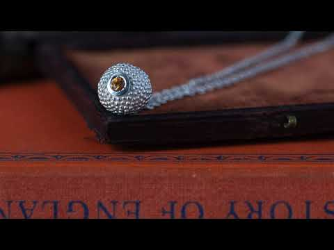 A video of my ball and chain pendant – its centrepiece is a tactile textured ball with a glistening birthstone at the base