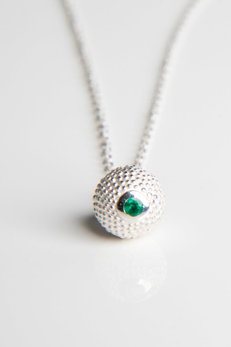 May Emerald Birthstone Ball and Chain Pendant Necklace